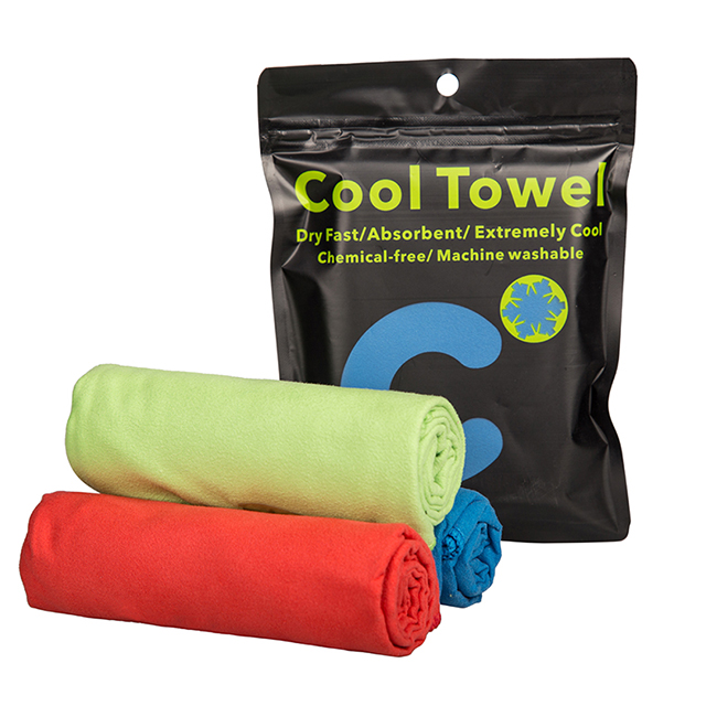 Stock cool towel with PE bag