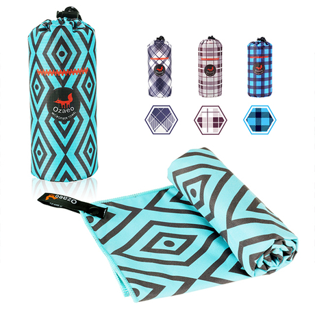 Super Absorbent Custom New Design Geometric Pattern Digital Prtinted Soft Microfiber Beach Towel